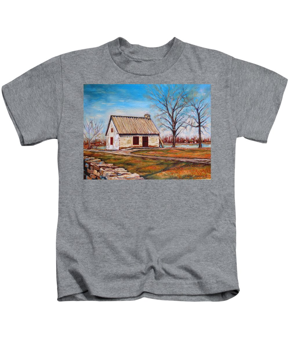 Ile Perrot Kids T-Shirt featuring the painting The Lake House by Carole Spandau