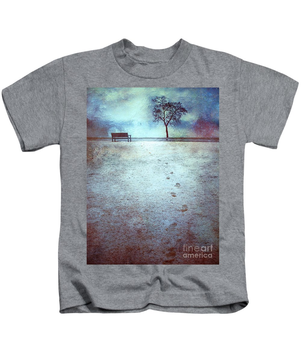 Bench Kids T-Shirt featuring the photograph The Last Snowfall by Tara Turner