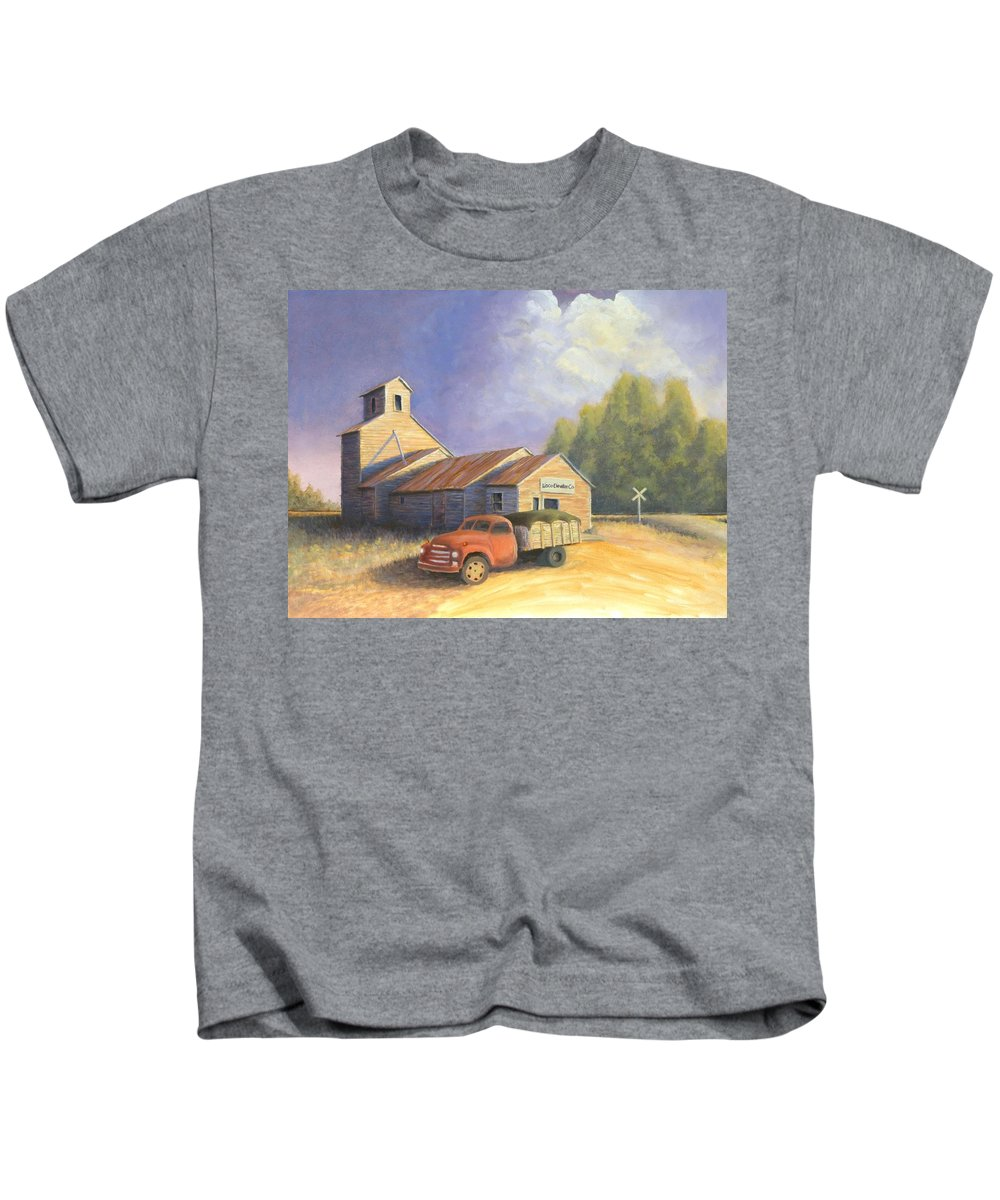 Nebraska Kids T-Shirt featuring the painting The Lisco Elevator by Jerry McElroy