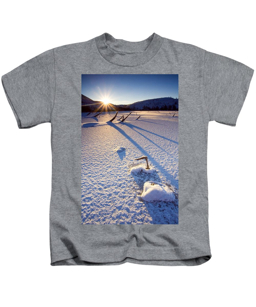 Sunrise Kids T-Shirt featuring the photograph The Long Shadows Of Winter by Mike Dawson