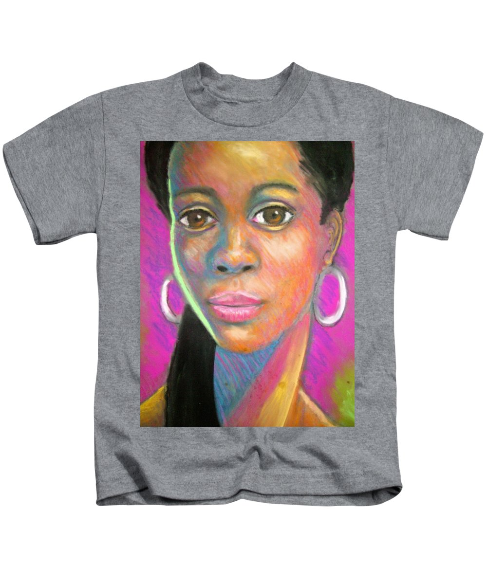 Portrait Kids T-Shirt featuring the drawing The Look by Jan Gilmore
