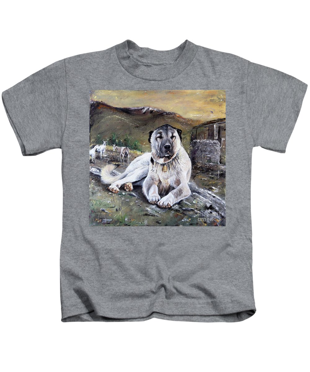 Dog Kids T-Shirt featuring the painting The Loyal Guardian by Carol Bostan