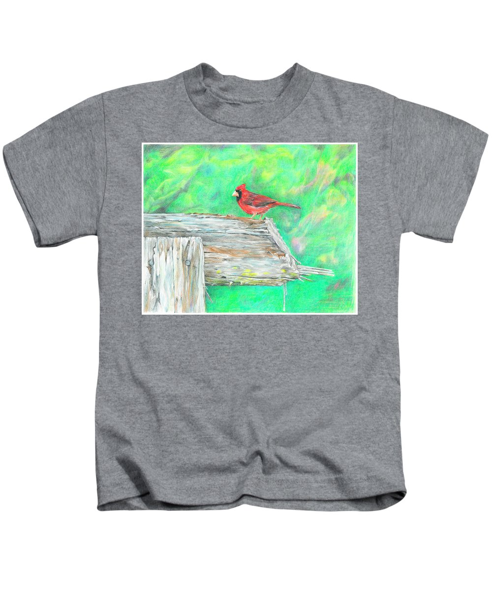 Birds Kids T-Shirt featuring the drawing The Messenger by Becky Brooks
