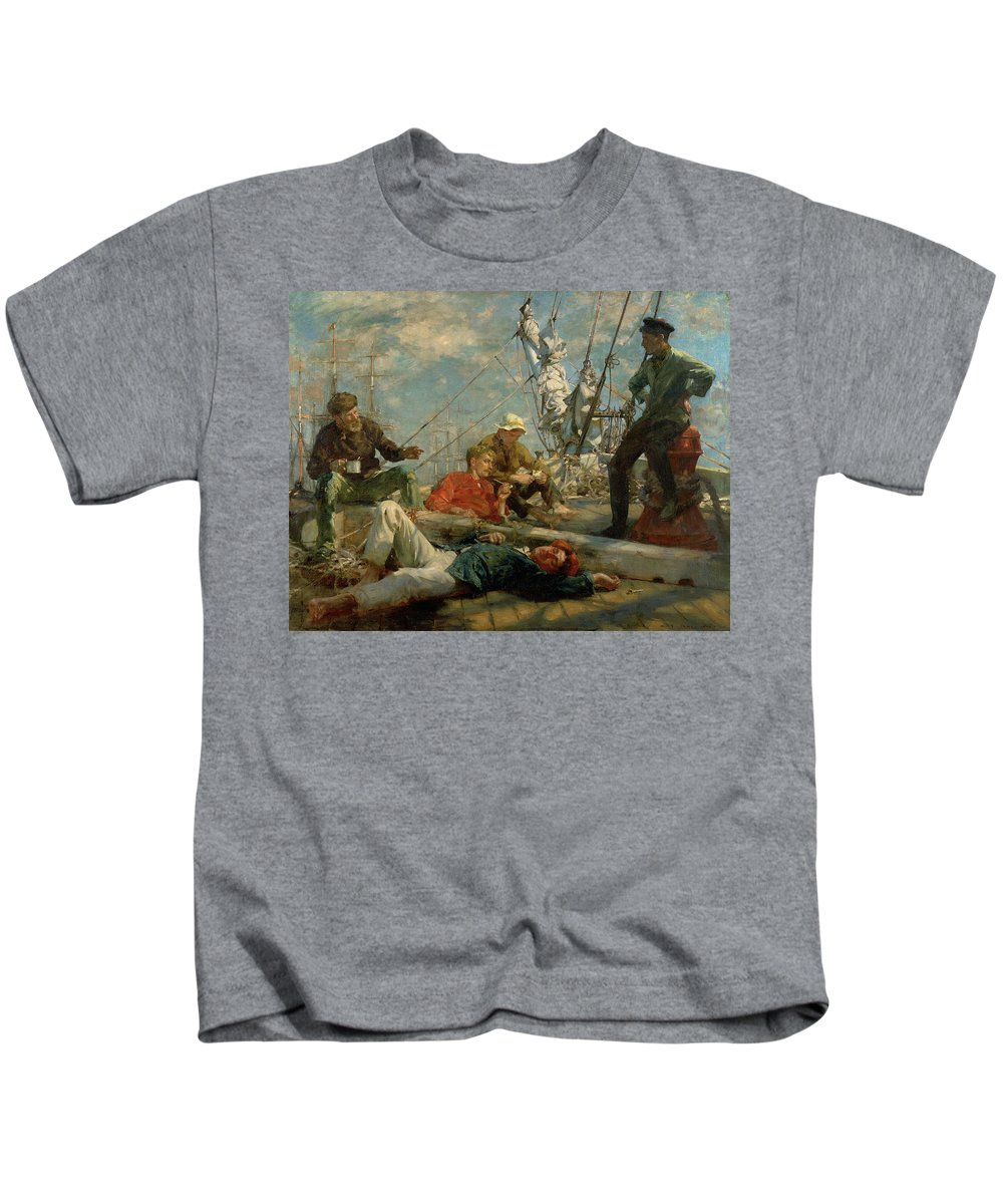 Marine; Ship; Resting; Break; Lying Down; Dozing; Talking; Conversation; Pipe; Mug; Mast; Deck; Marine; Old Salt; Newlyn School Kids T-Shirt featuring the painting The Midday Rest Sailors Yarning by Henry Scott Tuke