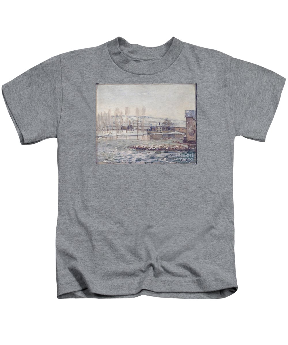 The Mills At Moret Kids T-Shirt featuring the painting The Mills At Moret by MotionAge Designs