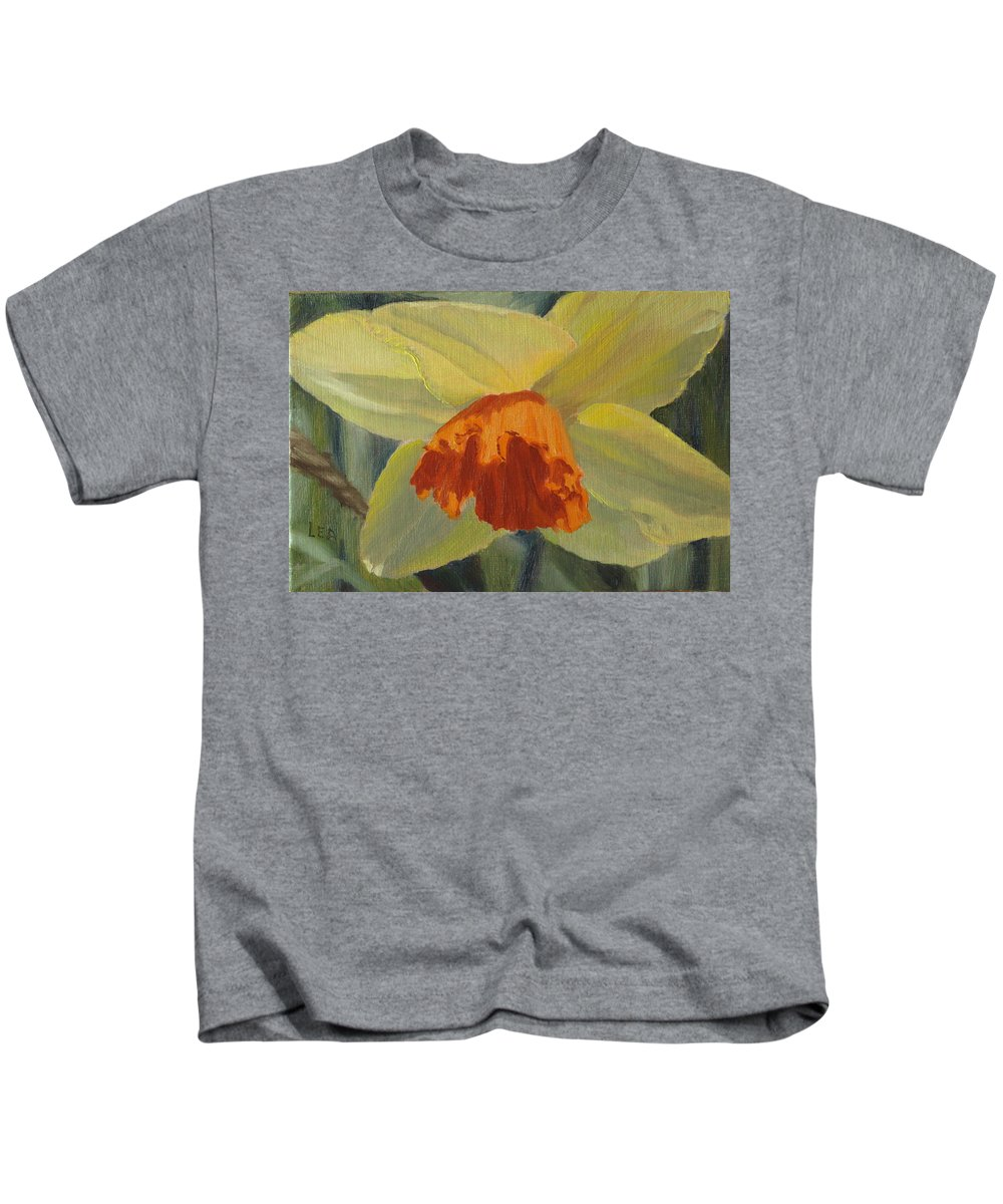 Flower Kids T-Shirt featuring the painting The Nodding Daffodil by Lea Novak