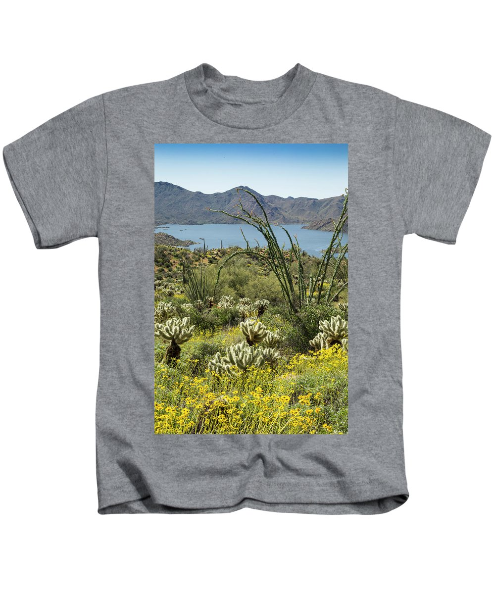 Arizona Kids T-Shirt featuring the photograph The Ocotillo View by Cathy Franklin