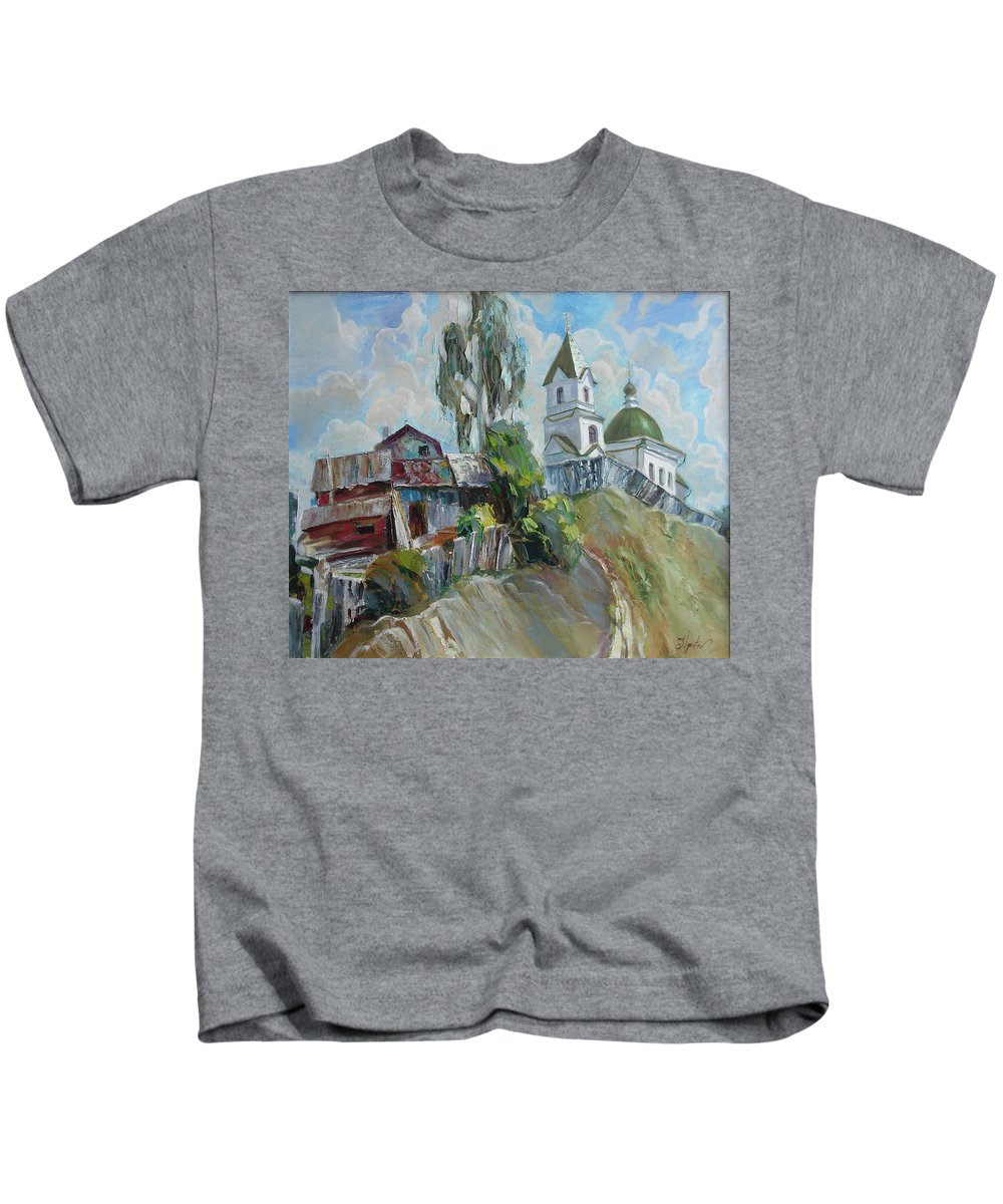 Oil Kids T-Shirt featuring the painting The Old And New by Sergey Ignatenko