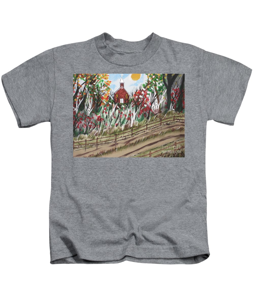 Church Kids T-Shirt featuring the painting The Old Red Church by Jeffrey Koss