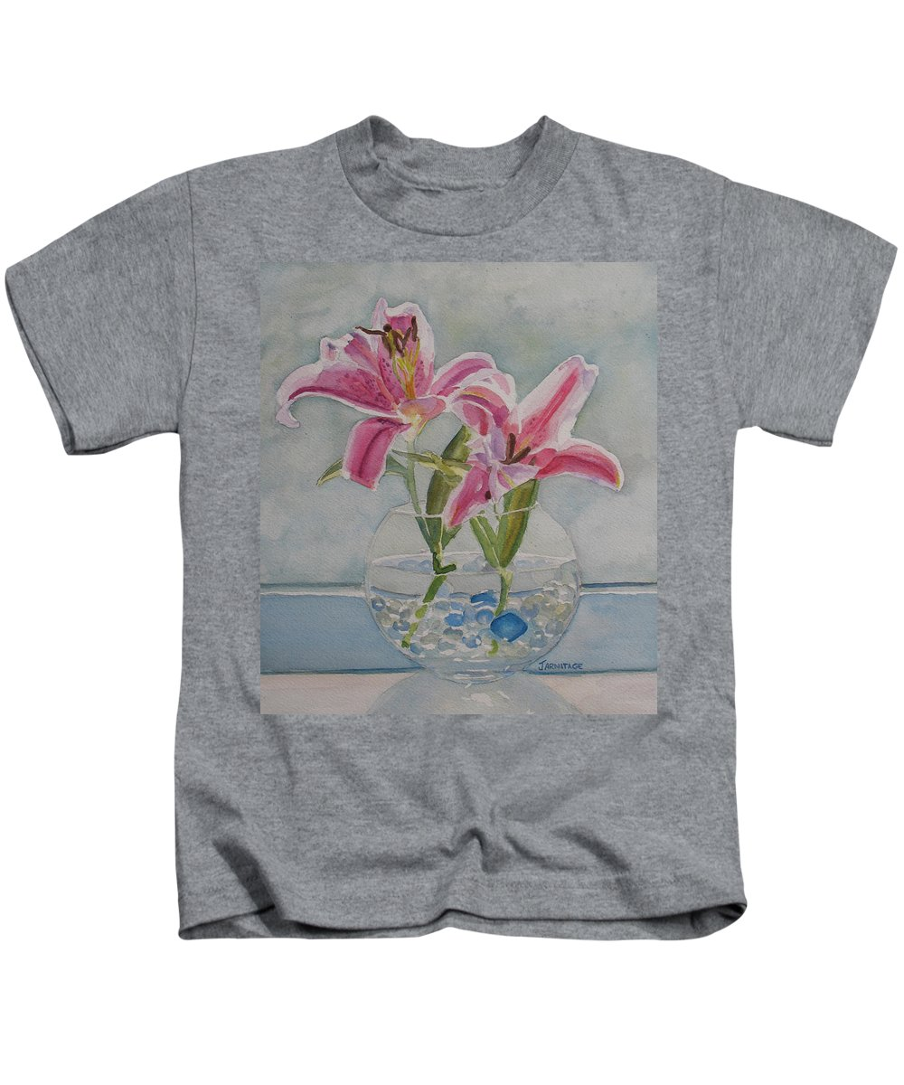 Lily Kids T-Shirt featuring the painting The Opening by Jenny Armitage