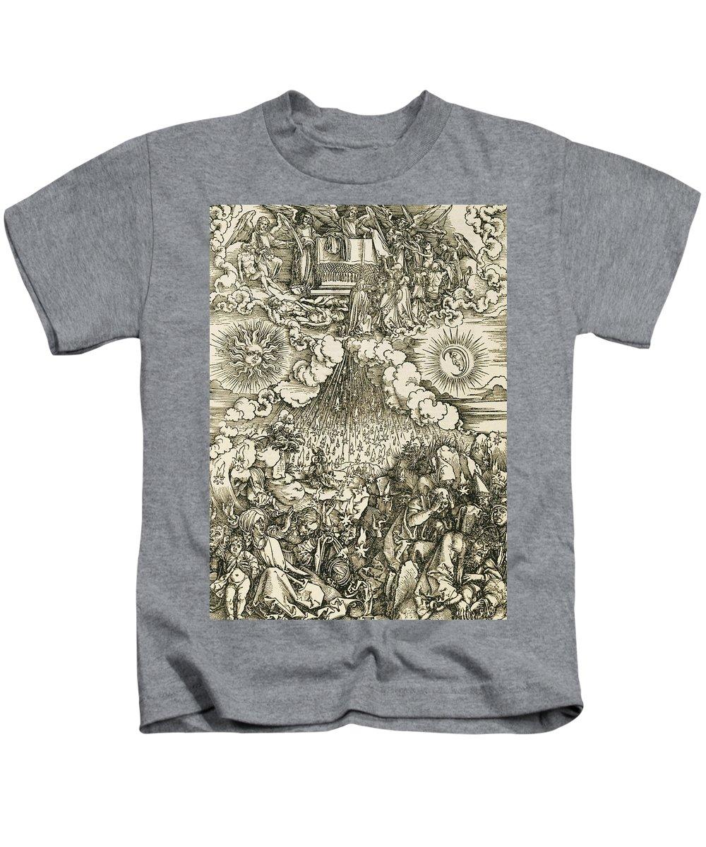 Albrecht Durer Kids T-Shirt featuring the relief The Opening Of The Sixth Seal by Albrecht Durer