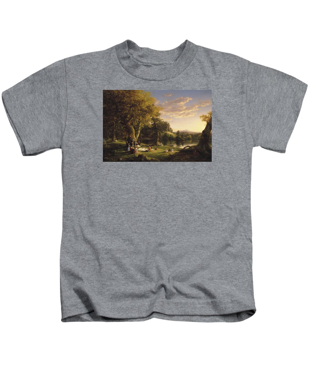 Painting Kids T-Shirt featuring the painting The Picnic by Mountain Dreams