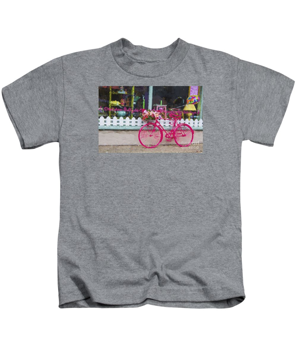Pink Kids T-Shirt featuring the photograph The pink bicycle by Sheila Smart Fine Art Photography