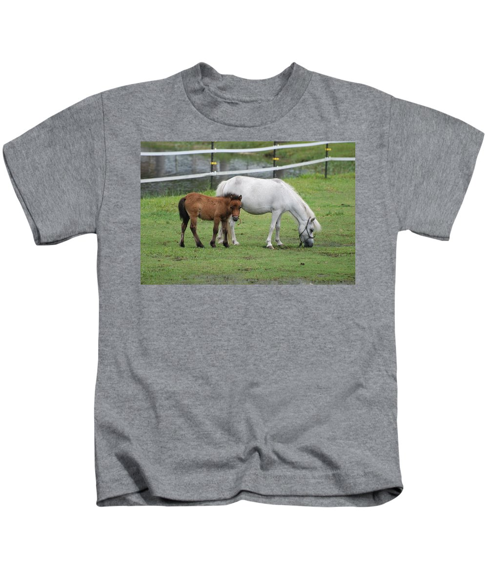 Horse Kids T-Shirt featuring the photograph The Ponys by Rob Hans