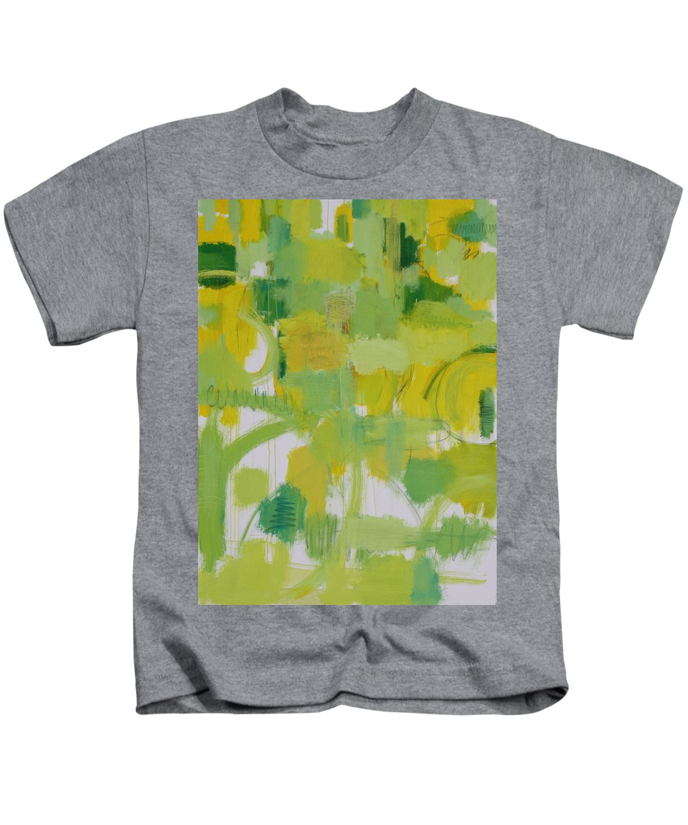 Abstract Kids T-Shirt featuring the painting The Power Of Green by Habib Ayat