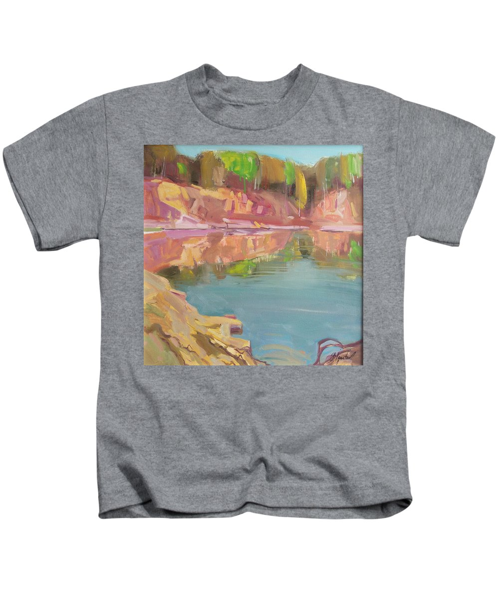 Oil Kids T-Shirt featuring the painting The Quarry by Sergey Ignatenko