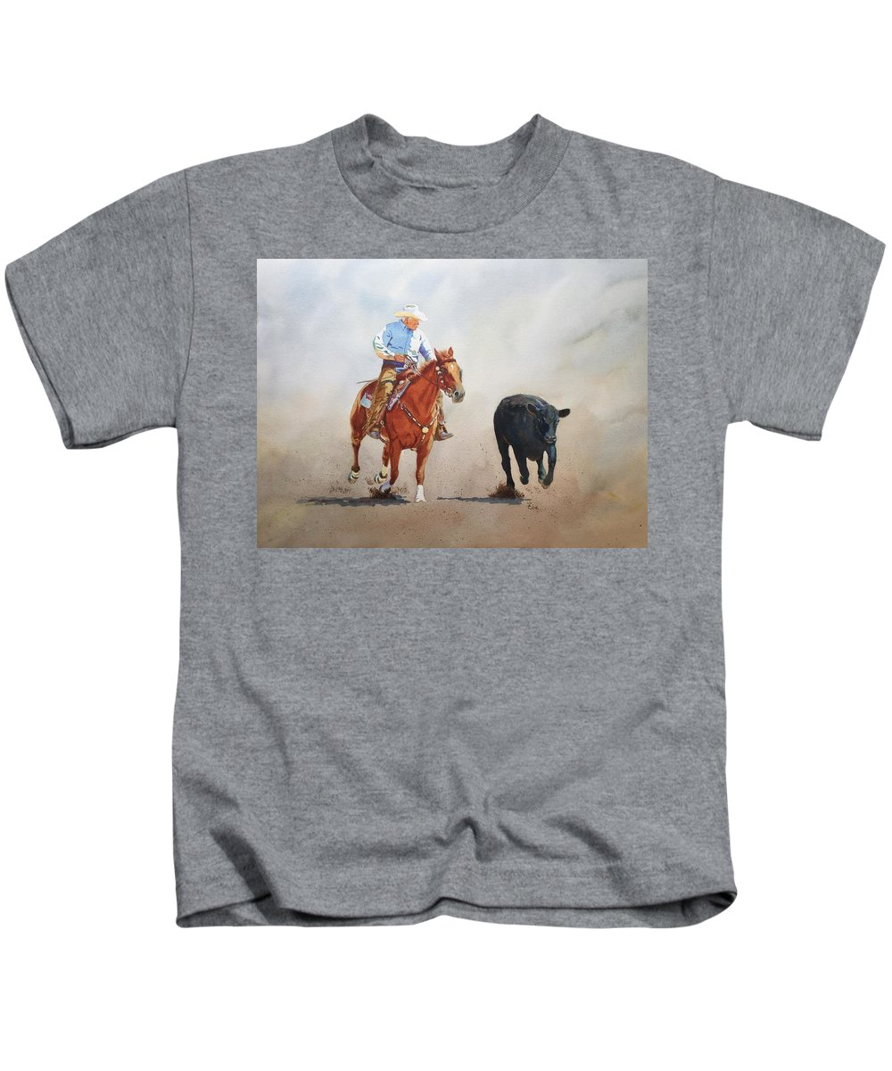 Horse Kids T-Shirt featuring the painting The Race Is On by Valerie Coe