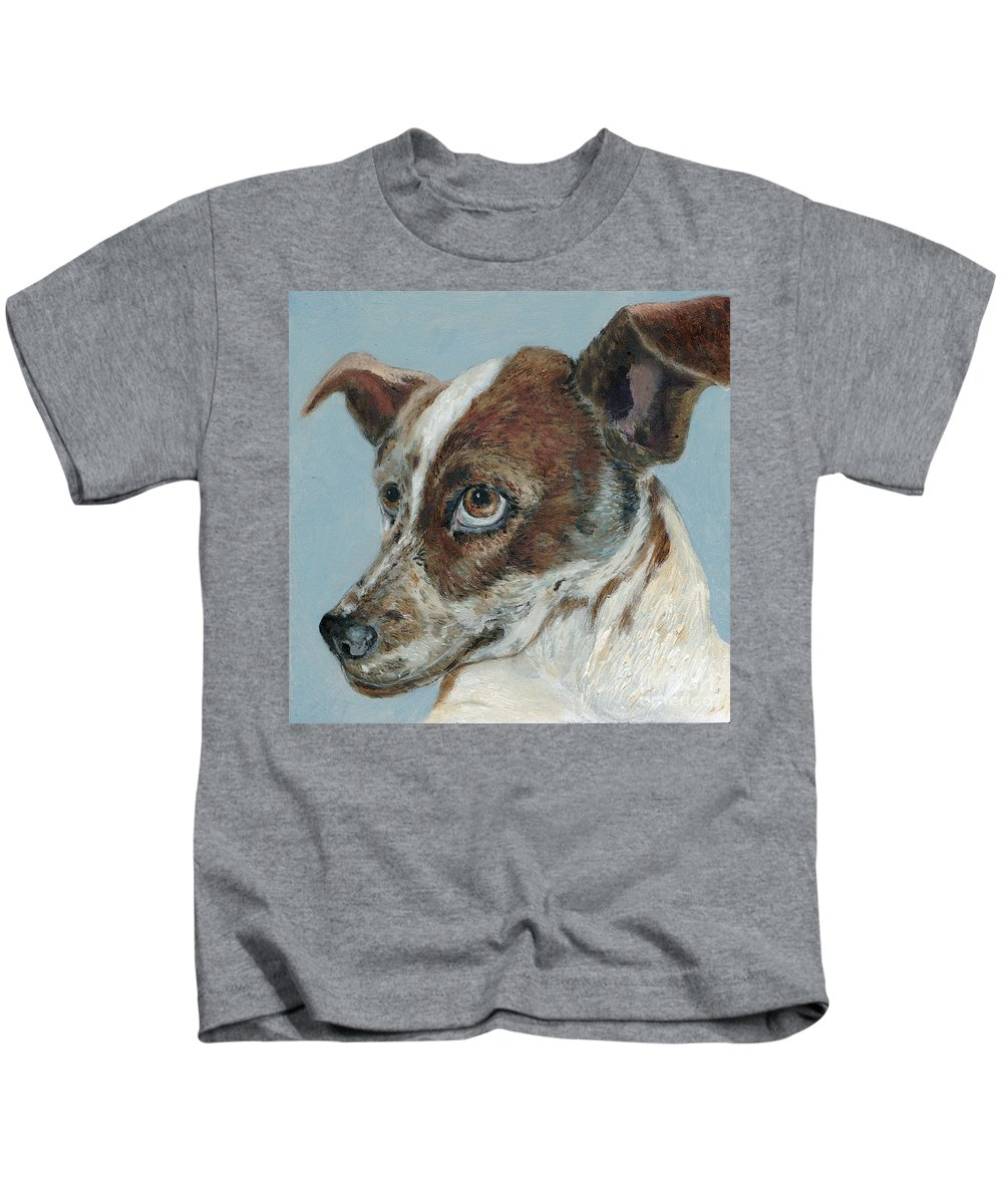 Dogs Kids T-Shirt featuring the painting The Rascal by Portraits By NC