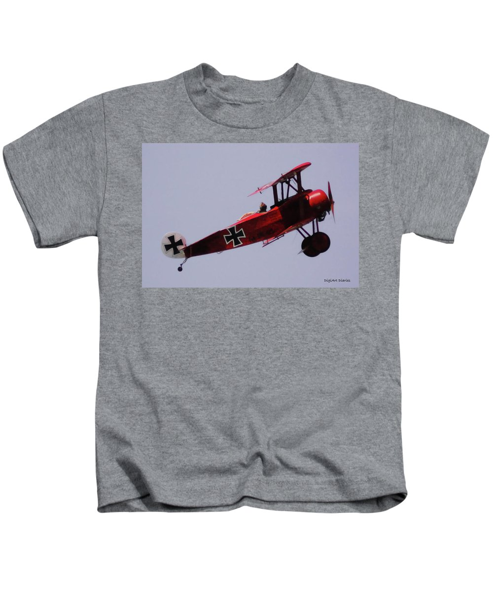 Triplane Kids T-Shirt featuring the digital art The Red Baron by DigiArt Diaries by Vicky B Fuller