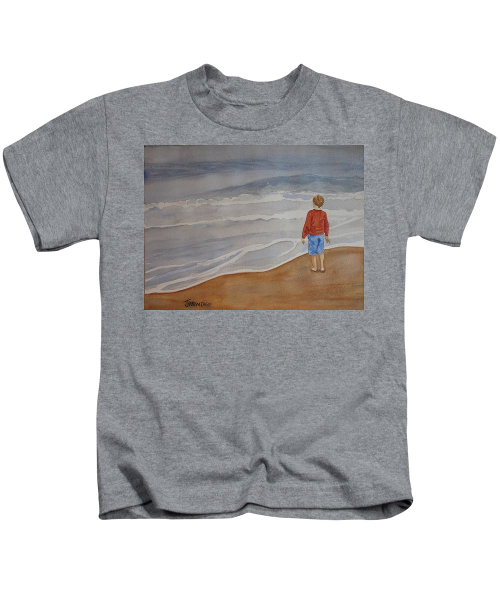 Boy Kids T-Shirt featuring the painting The Red Shirt by Jenny Armitage