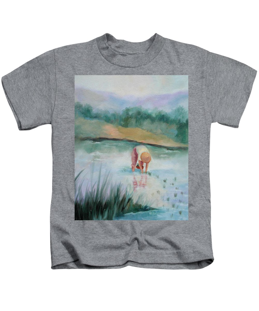 Figurative Kids T-Shirt featuring the painting The Rice Planter by Ginger Concepcion