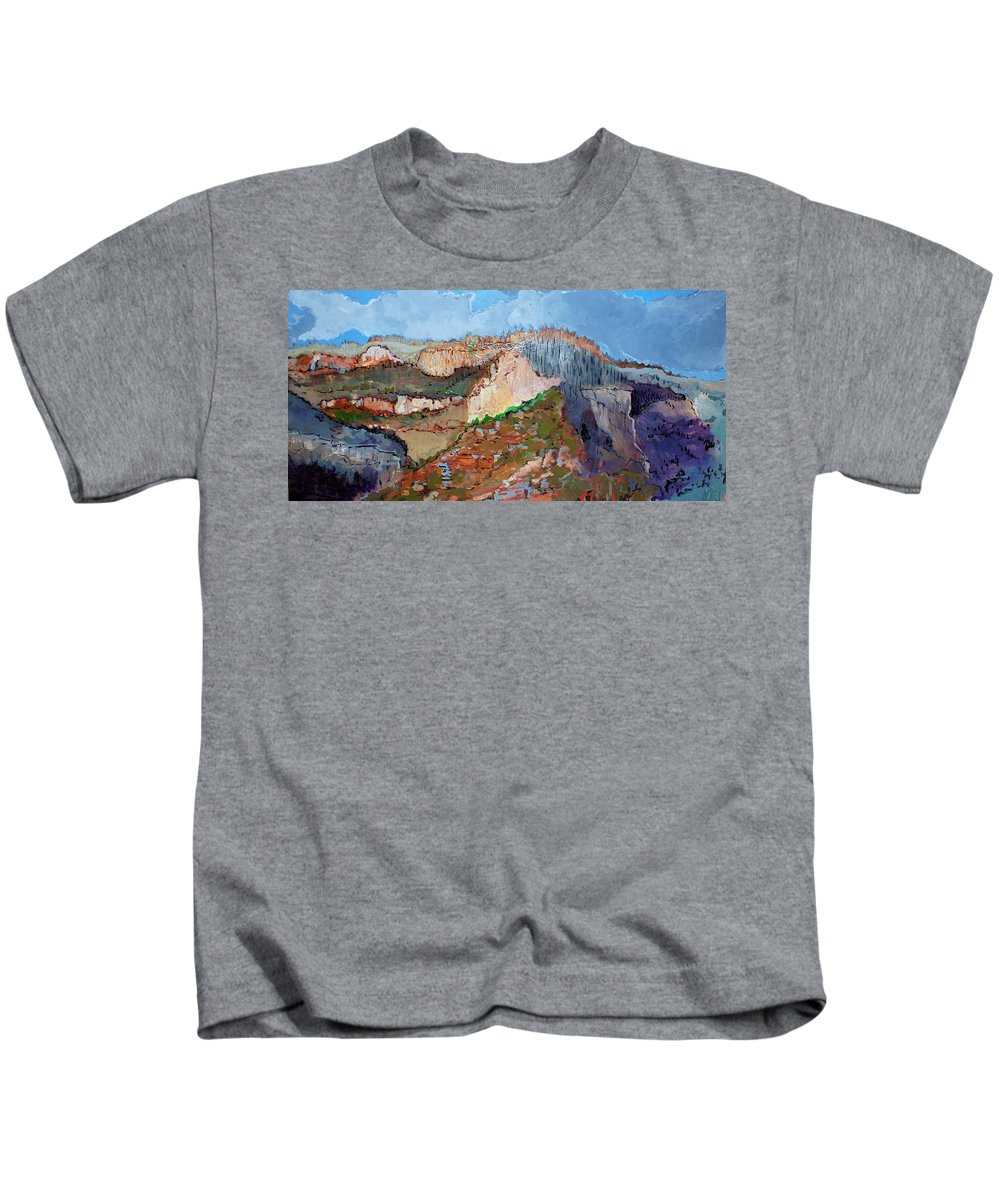 Mountains Kids T-Shirt featuring the painting The Rockies by Kurt Hausmann