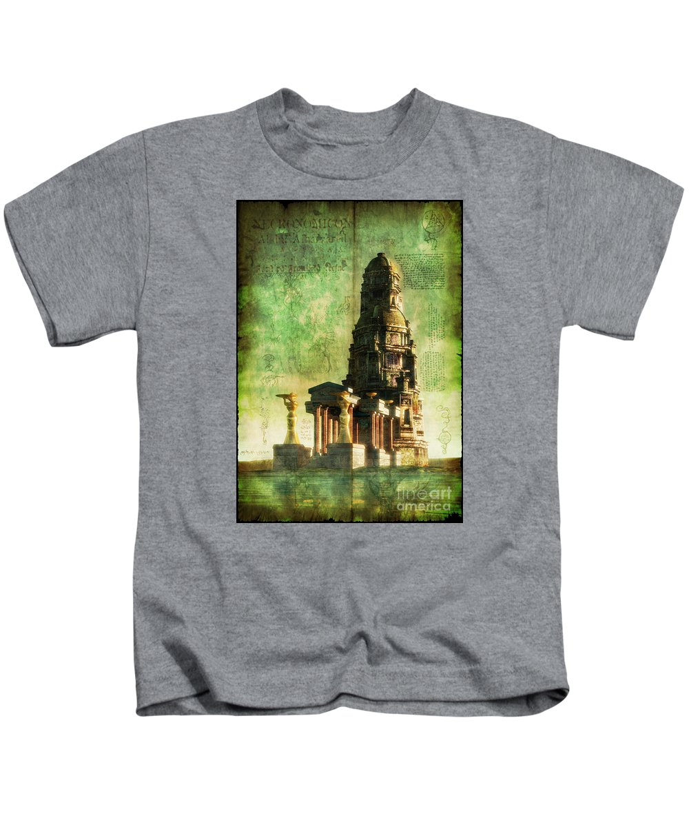 Science Fiction. Kids T-Shirt featuring the digital art The Seven Cryptical Books Of Hsan by Luca Oleastri