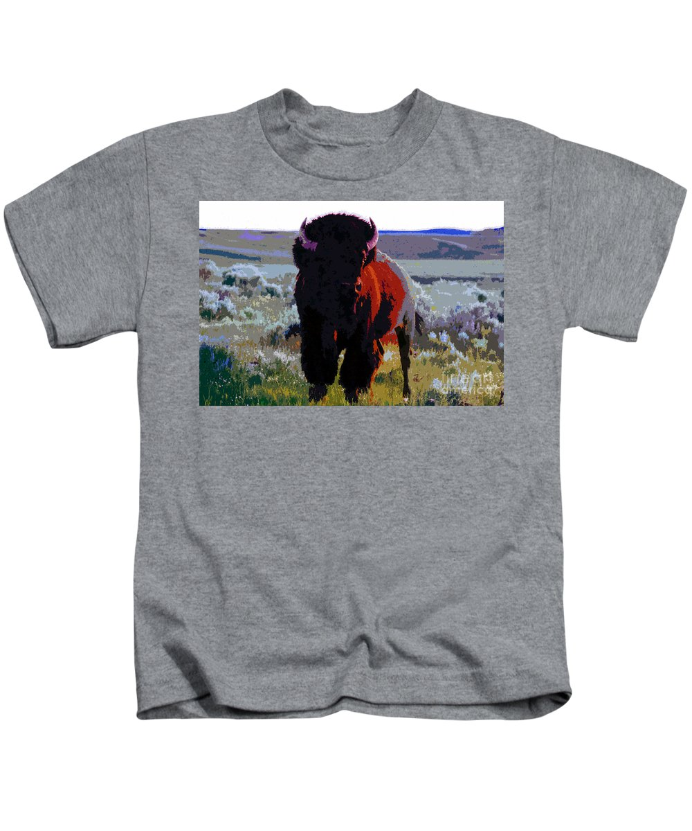 Shaman Kids T-Shirt featuring the painting The Shamans Buffalo by David Lee Thompson