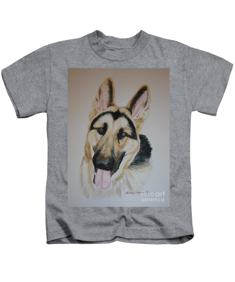 Dog Kids T-Shirt featuring the painting The Shepherd by Mary Rogers
