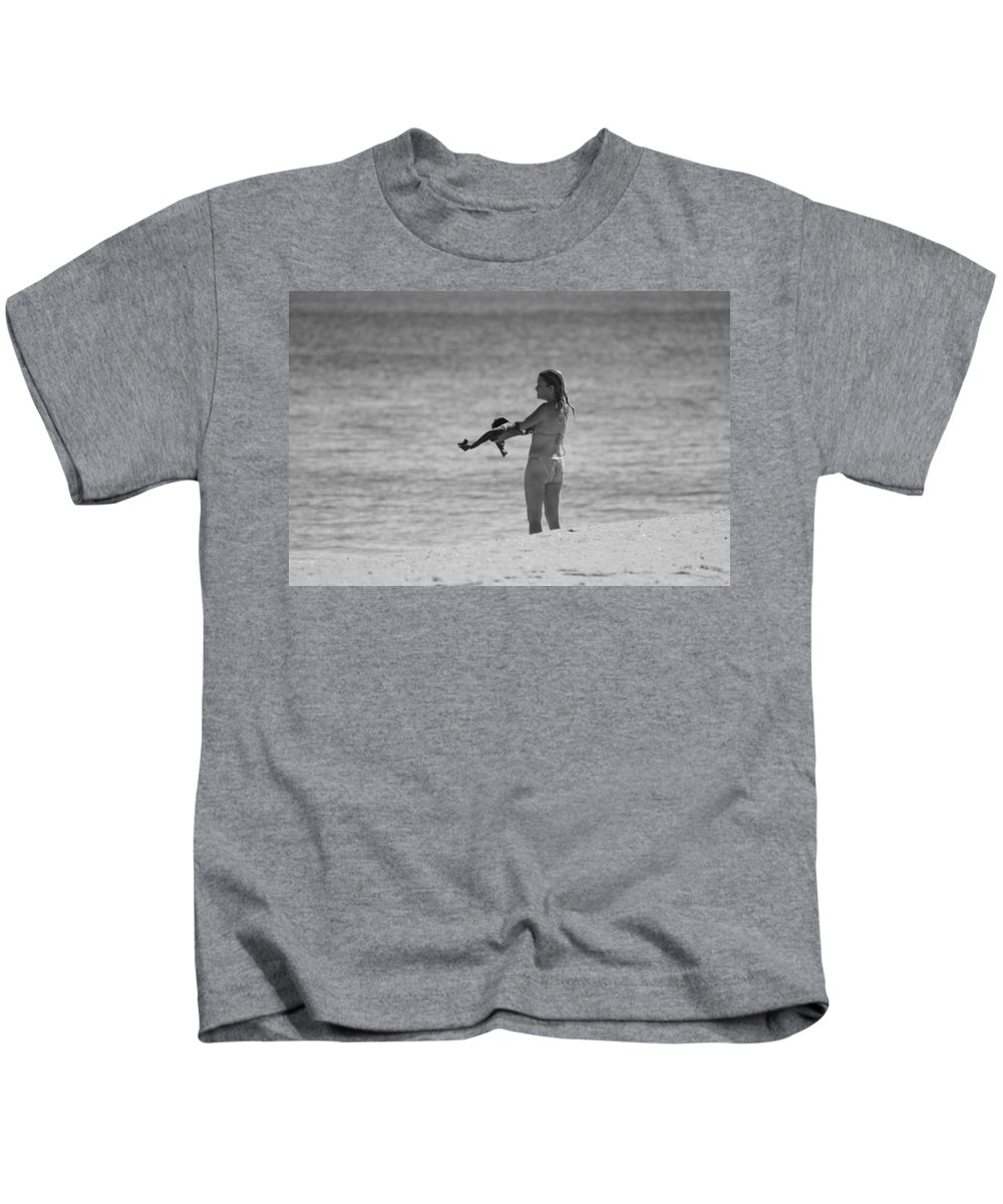 Black And White Kids T-Shirt featuring the photograph The Shirt by Rob Hans