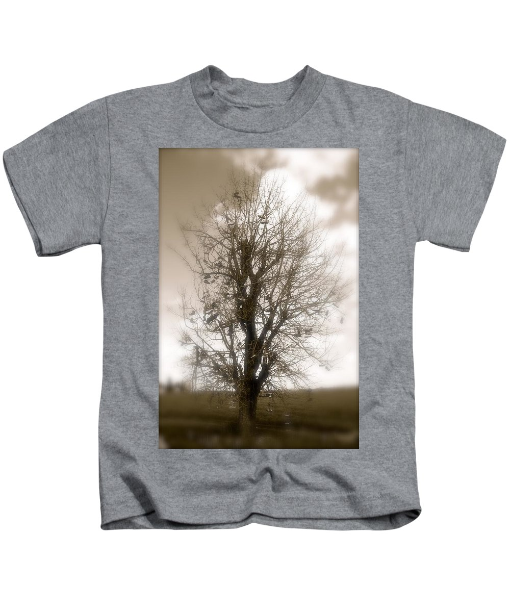 Shoes Kids T-Shirt featuring the photograph The Shoe Tree by Christine Patterson