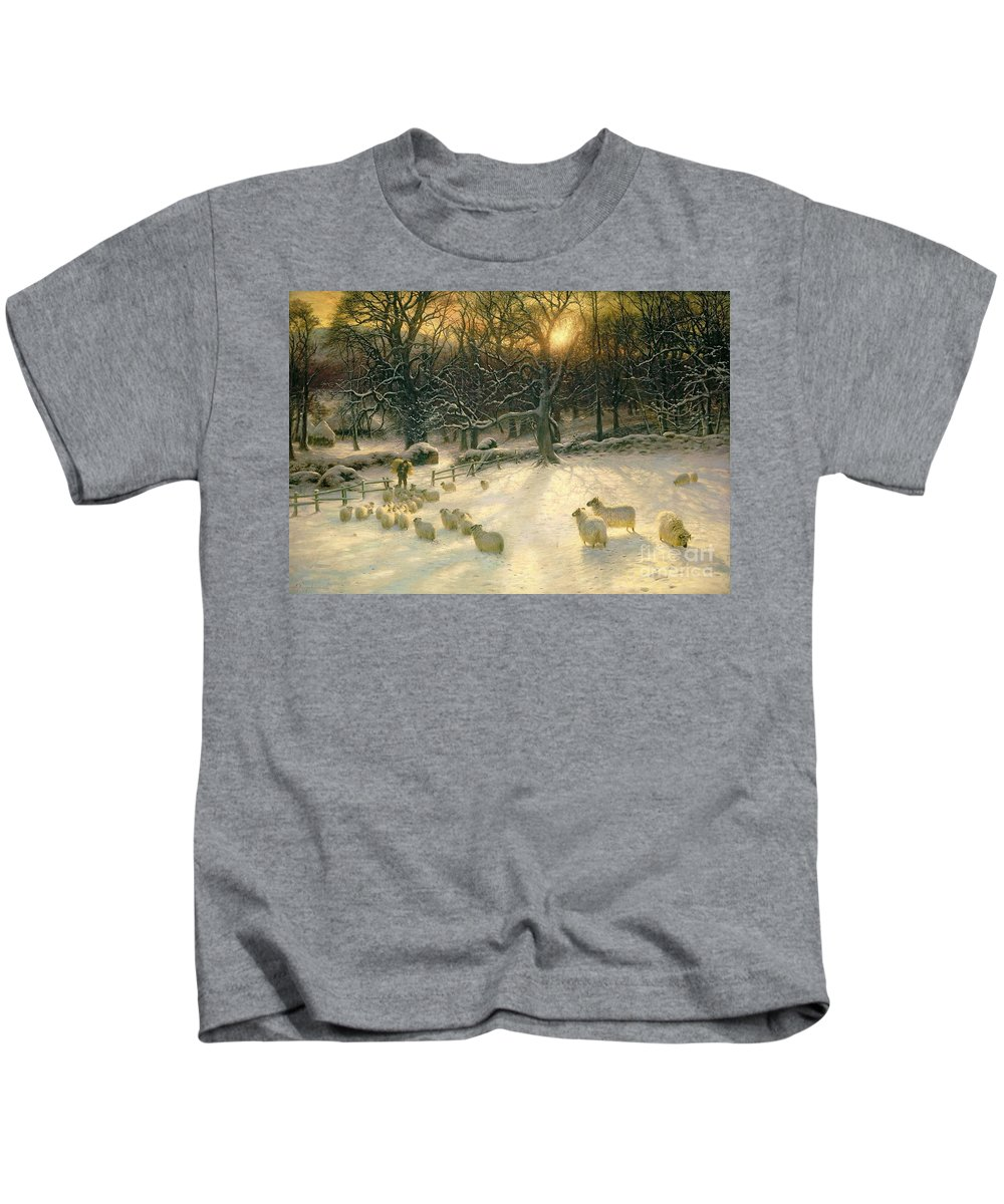 Winter Kids T-Shirt featuring the painting The Shortening Winters Day Is Near A Close by Joseph Farquharson