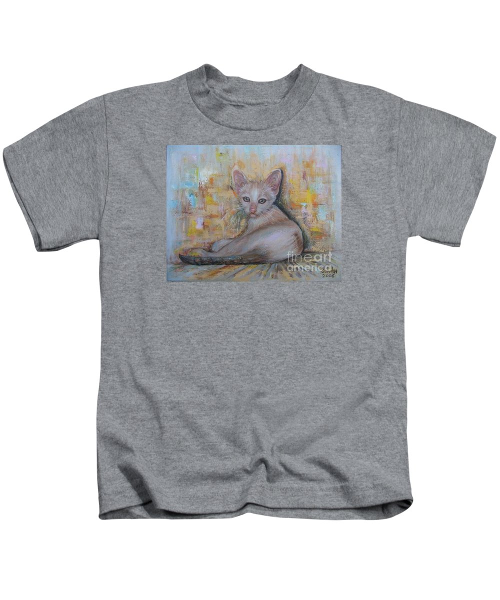 Cat Kids T-Shirt featuring the painting The Sitting Cat by Sukalya Chearanantana