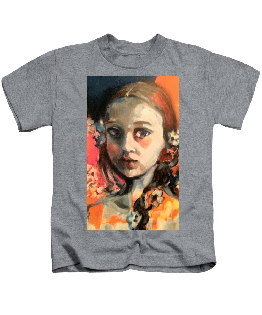 Portrait Kids T-Shirt featuring the painting The Snow Princess by Tati Poley