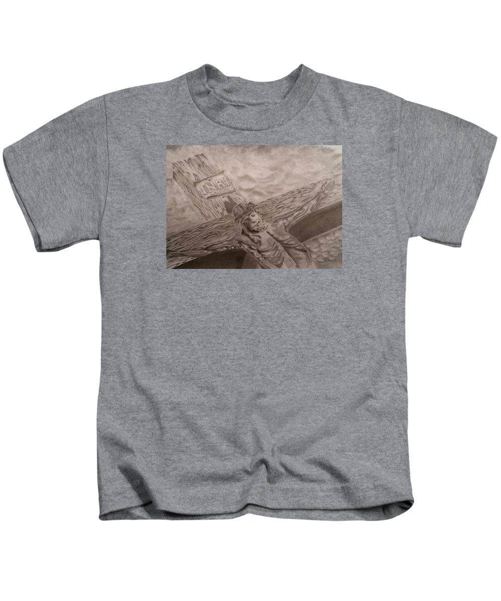 Jesus Kids T-Shirt featuring the drawing The Son by James Loss