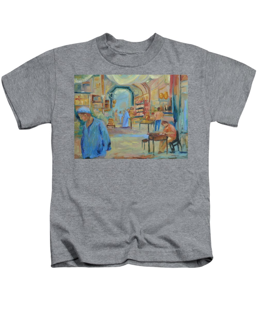 Figurative Kids T-Shirt featuring the painting The Souk by Ginger Concepcion
