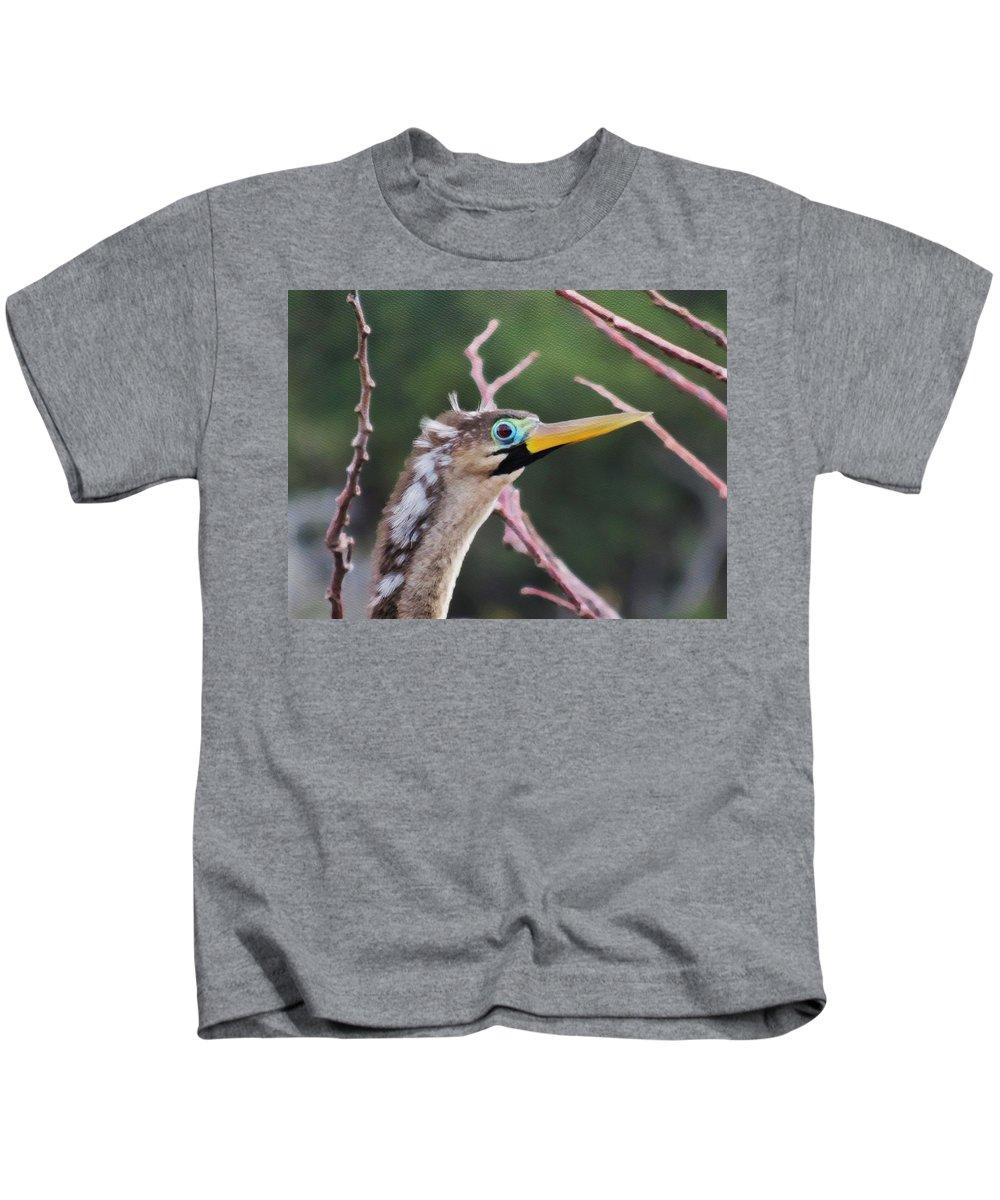 Anahinga Kids T-Shirt featuring the photograph The Stare by Diana Rajala
