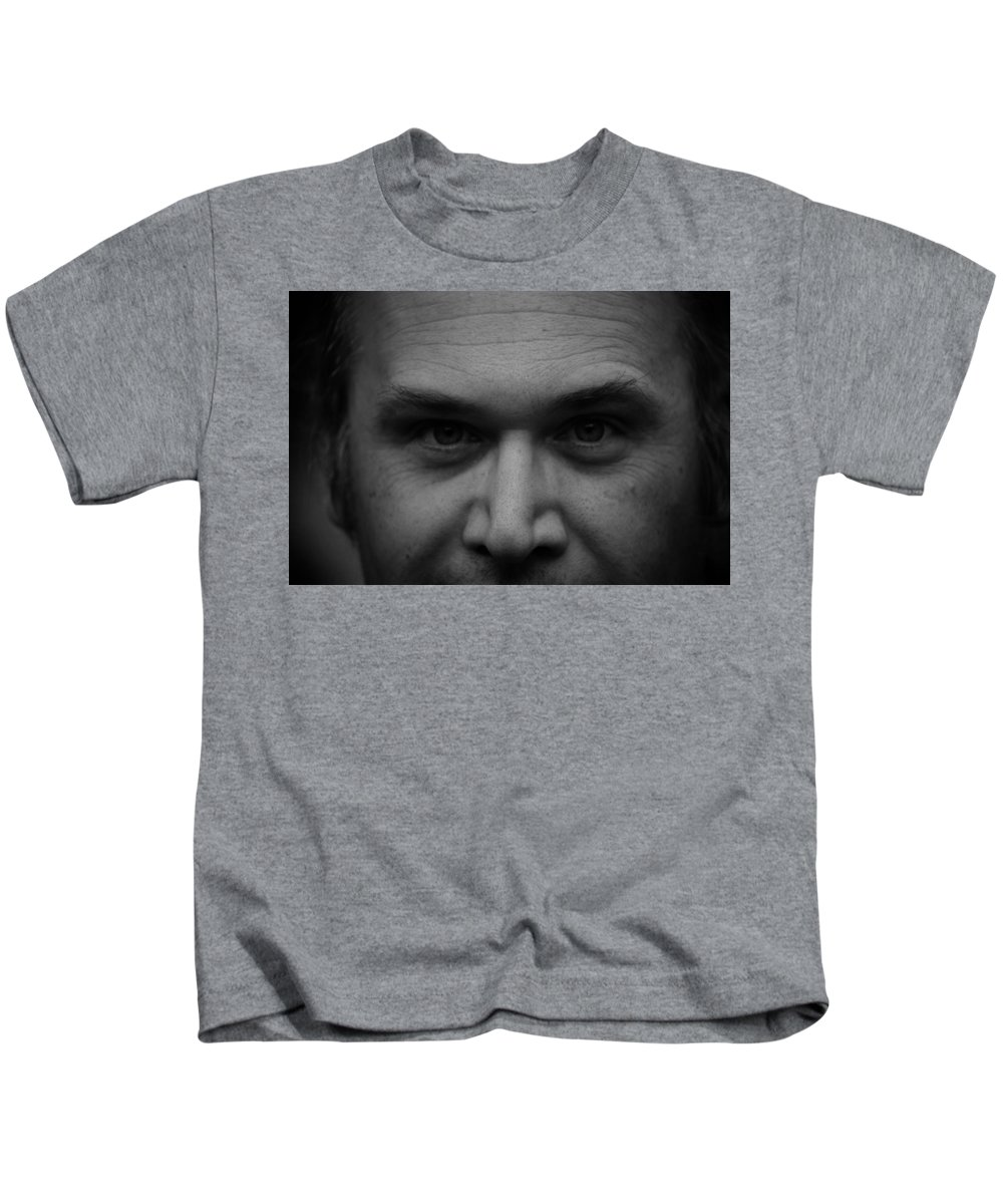 Black And White Kids T-Shirt featuring the photograph The Stare by Kristen Beck