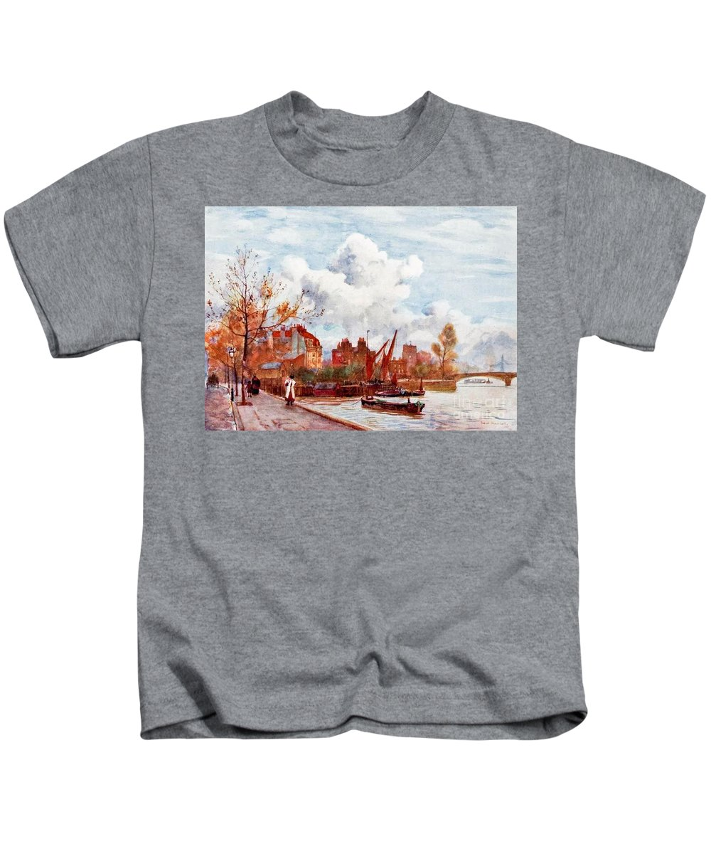 Herbert Menzies Marshall - The Thames Kids T-Shirt featuring the painting The Thames by MotionAge Designs