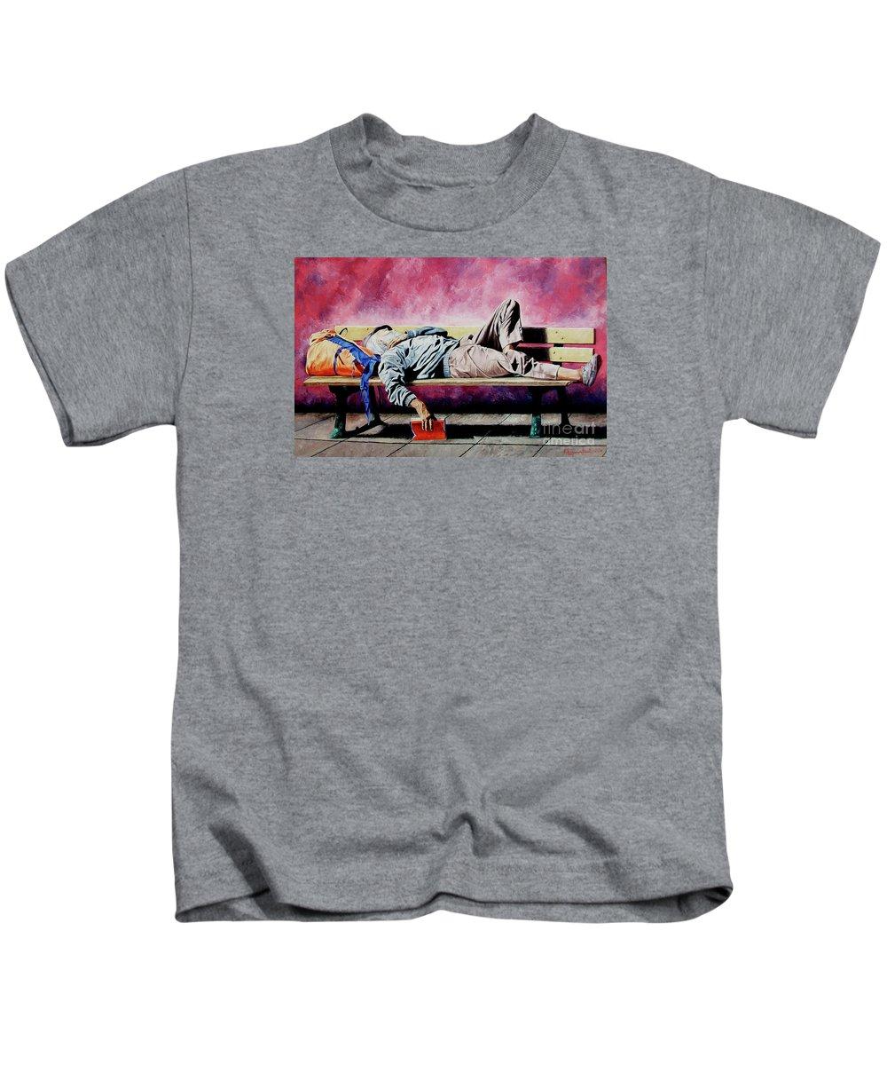 Figurative Kids T-Shirt featuring the painting The Traveler 1 - El Viajero 1 by Rezzan Erguvan-Onal