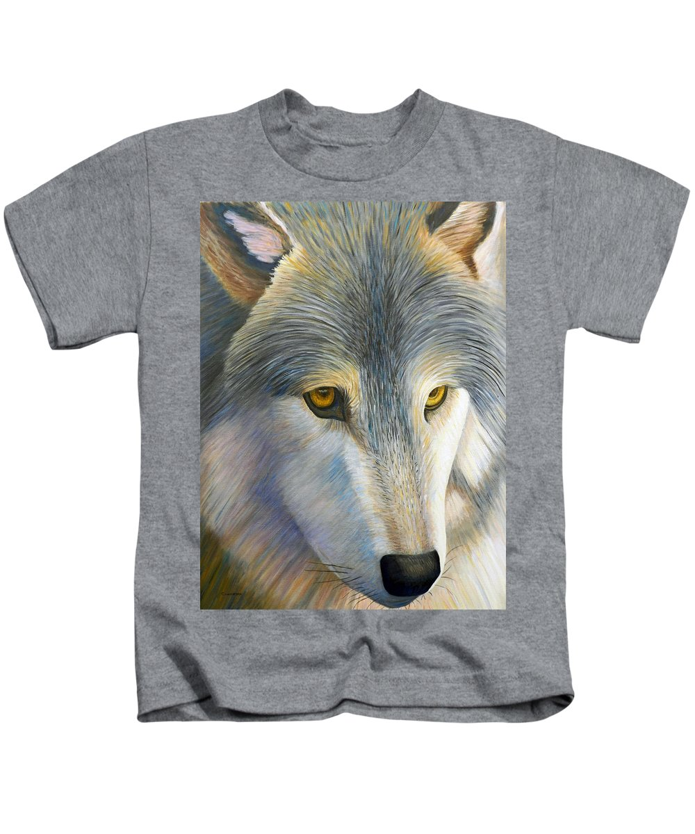 Wolf Kids T-Shirt featuring the painting The Traveler by Brian Commerford