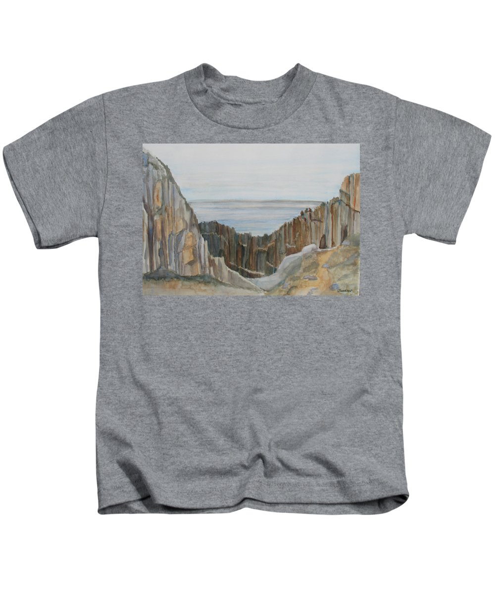 Ocean Kids T-Shirt featuring the painting The Whale Watchers At Elephant Rock by Jenny Armitage