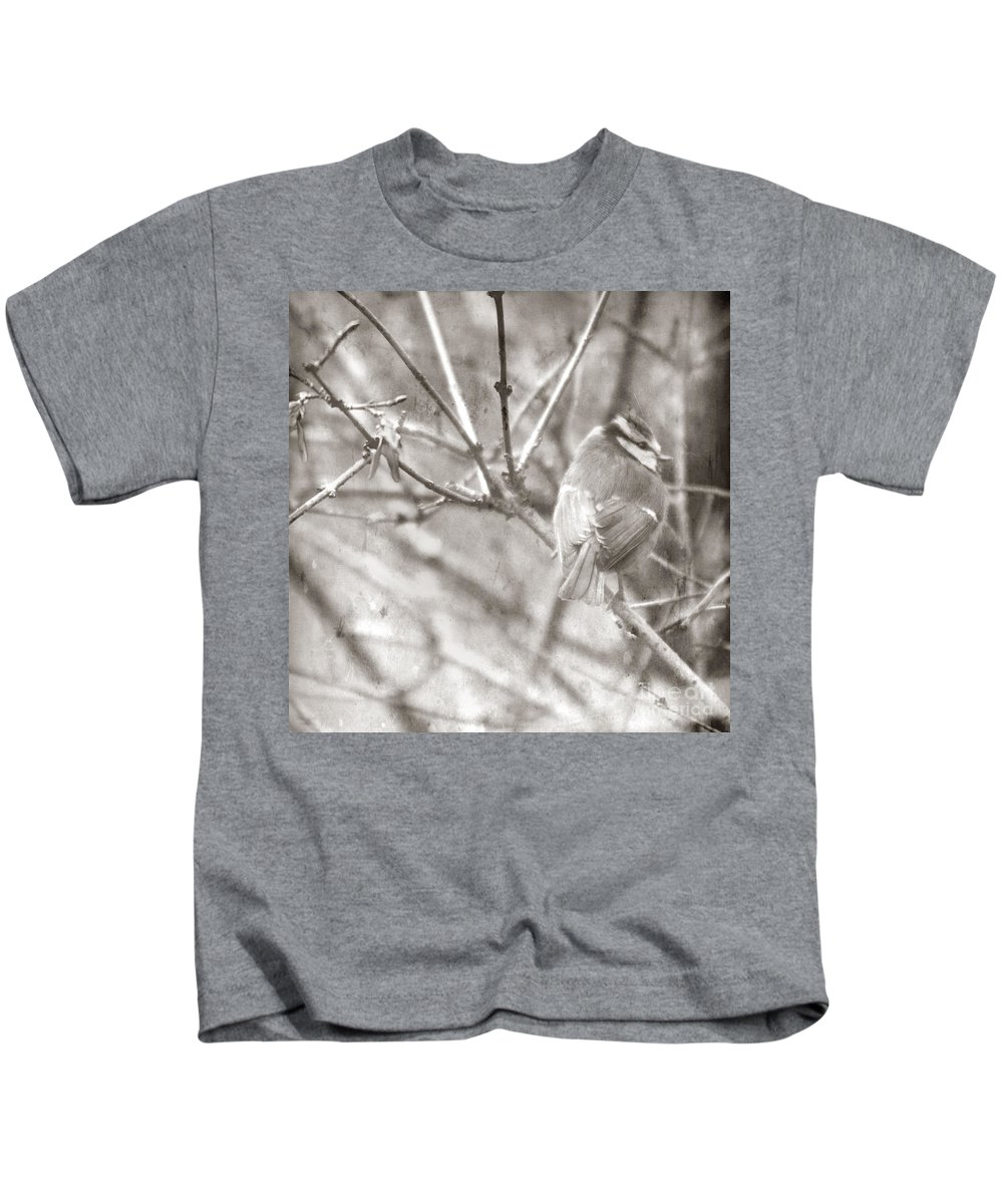 Blue Tit Kids T-Shirt featuring the photograph The Winter Time by Angel Ciesniarska