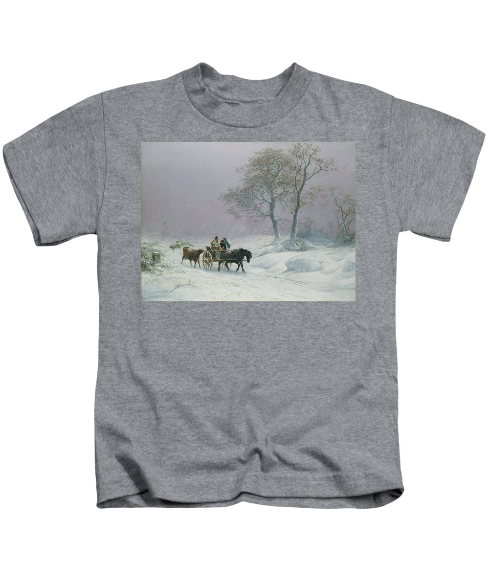 The Kids T-Shirt featuring the painting The Wintry Road To Market by Thomas Sidney Cooper