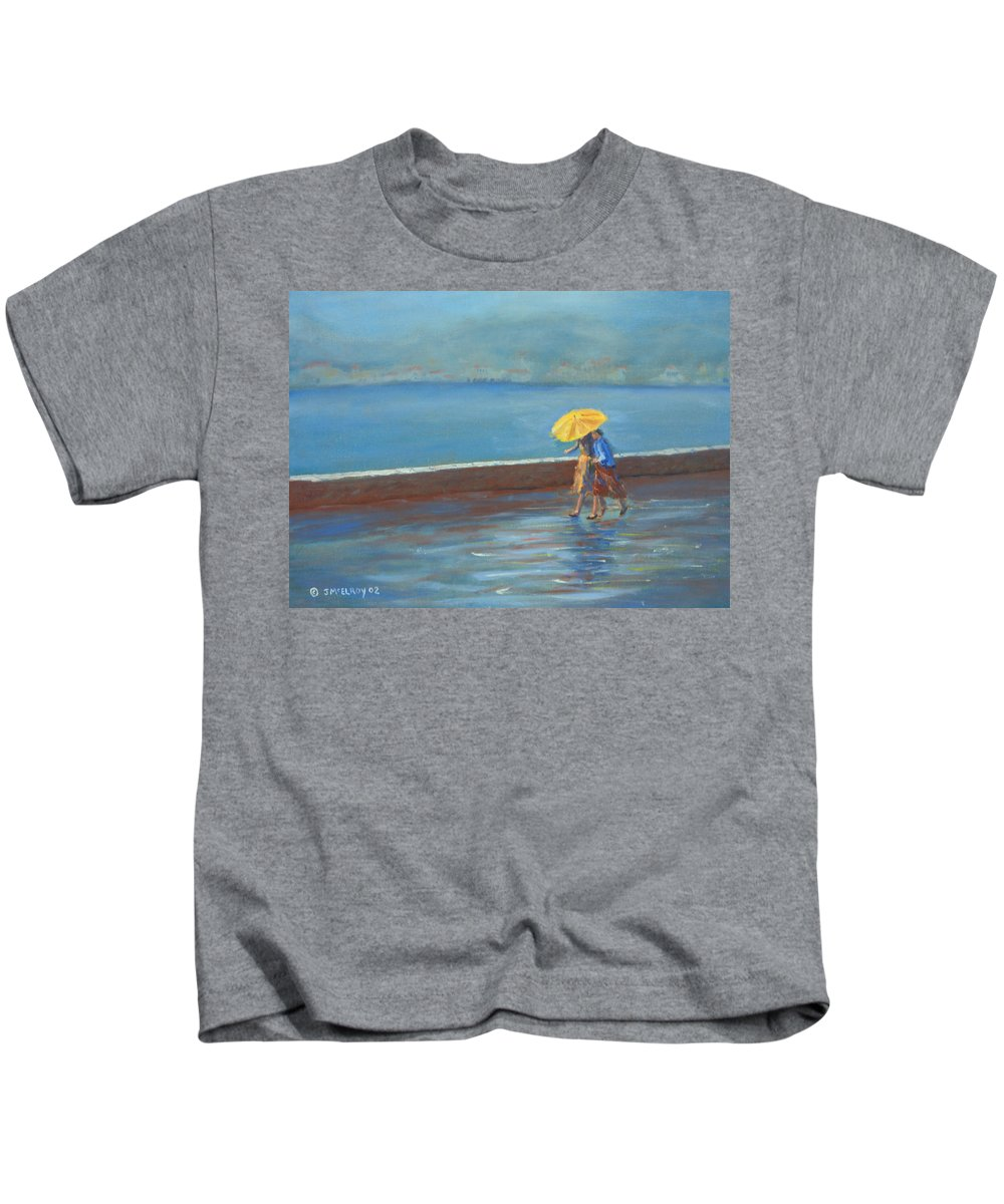 Rain Kids T-Shirt featuring the painting The Yellow Umbrella by Jerry McElroy