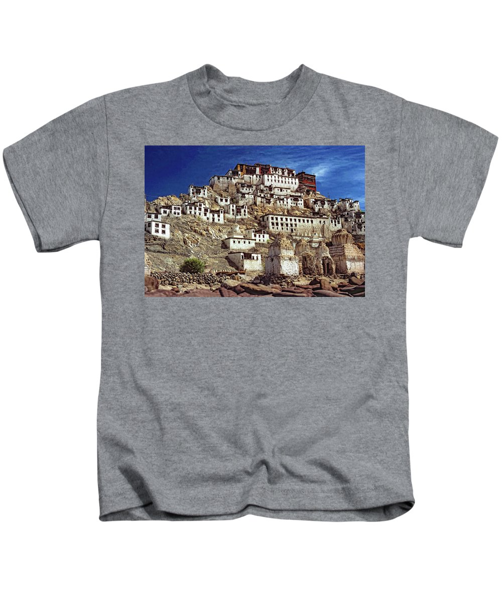 Ladakh Kids T-Shirt featuring the photograph Thiksey Monastery by Steve Harrington