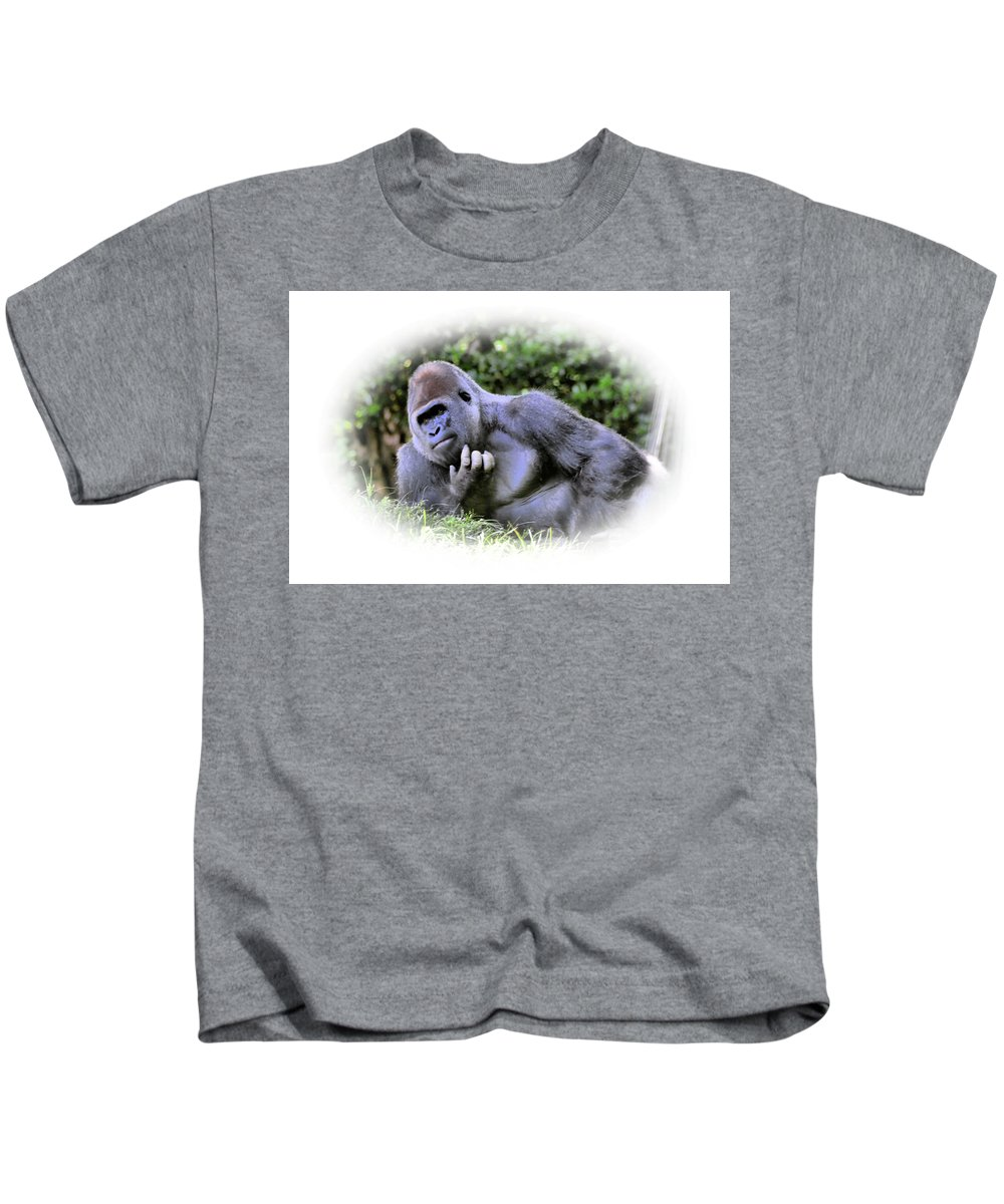 Gorilla Kids T-Shirt featuring the photograph Thinking by Mike Fairchild