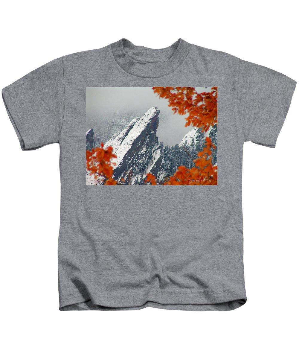 Flatirons Boulder Colorado Winter Fall Autumn Nature Rocky Mountains Zen Simple Kids T-Shirt featuring the photograph Third Flatiron by George Tuffy