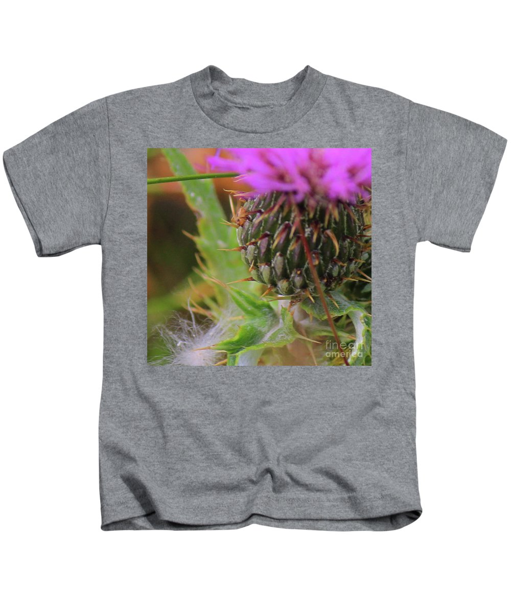 Thistle Kids T-Shirt featuring the photograph Thistle by Ann E Robson