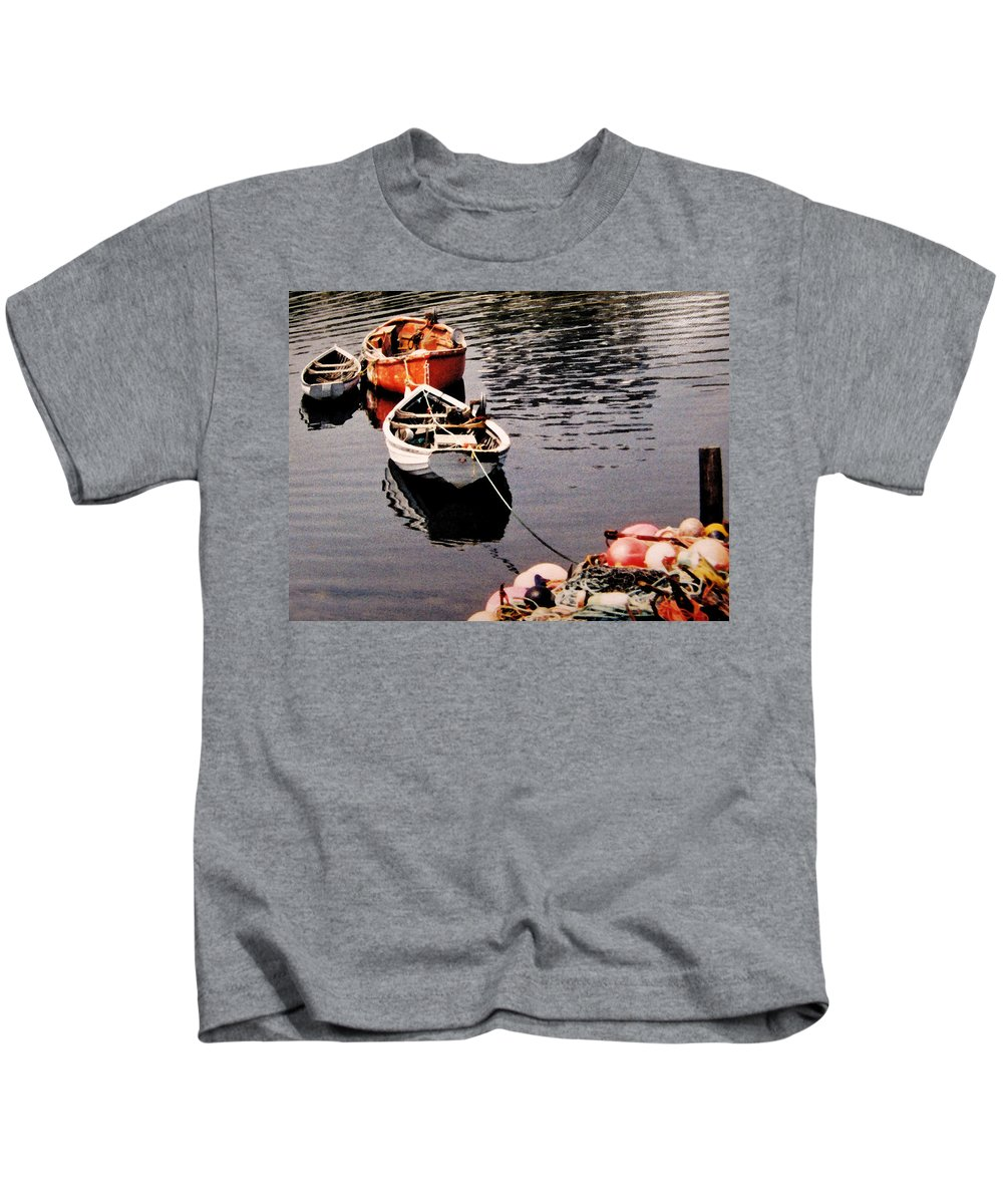 Boats Kids T-Shirt featuring the photograph Three Boats Waiting by Ian MacDonald